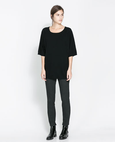 Boat Neck Sweater - neckline: round neck; pattern: plain; length: below the bottom; style: standard; predominant colour: black; occasions: casual, work, creative work; fibres: cotton - mix; fit: loose; sleeve length: 3/4 length; sleeve style: standard; texture group: knits/crochet; season: a/w 2013