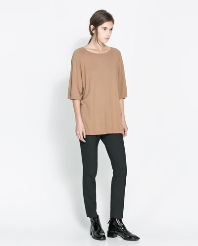Boat Neck Sweater - neckline: round neck; pattern: plain; length: below the bottom; style: standard; predominant colour: camel; occasions: casual, work, creative work; fibres: cotton - mix; fit: loose; sleeve length: 3/4 length; sleeve style: standard; texture group: knits/crochet; season: a/w 2013