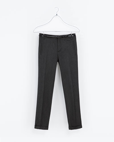 Trousers With Belt - length: standard; pattern: plain; waist: mid/regular rise; predominant colour: charcoal; occasions: casual, evening, work, creative work; fibres: polyester/polyamide - stretch; fit: straight leg; pattern type: fabric; texture group: woven light midweight; style: standard; season: a/w 2013