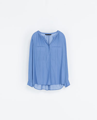 Shirt With Gathered Neckline - pattern: plain; style: shirt; predominant colour: royal blue; occasions: casual, evening, work, creative work; length: standard; neckline: collarstand & mandarin with v-neck; fibres: polyester/polyamide - 100%; fit: loose; sleeve length: long sleeve; sleeve style: standard; texture group: sheer fabrics/chiffon/organza etc.; season: a/w 2013