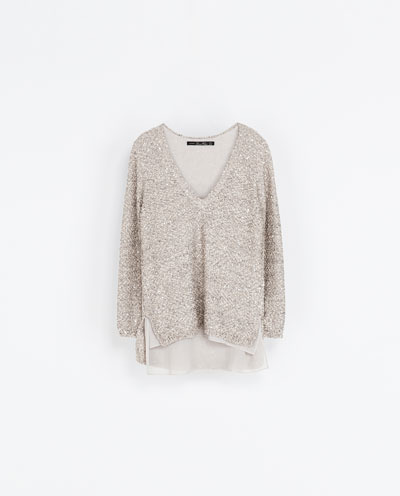 Sequinned Sweater - neckline: low v-neck; pattern: plain; style: standard; predominant colour: stone; occasions: casual, evening, creative work; length: standard; fibres: polyester/polyamide - mix; fit: loose; sleeve length: long sleeve; sleeve style: standard; texture group: knits/crochet; pattern type: knitted - fine stitch; embellishment: sequins; season: a/w 2013; wardrobe: highlight; embellishment location: all over