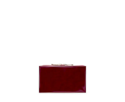 MinaudiÉre With Zip - predominant colour: burgundy; occasions: evening, occasion; style: clutch; length: hand carry; size: small; material: faux leather; pattern: plain; finish: plain; embellishment: chain/metal; trends: broody brights; season: a/w 2013