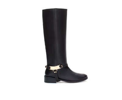 Leather Riding Boot - predominant colour: black; occasions: casual, creative work; material: leather; heel height: flat; heel: standard; toe: round toe; boot length: knee; style: riding; finish: plain; pattern: plain; embellishment: chain/metal; season: a/w 2013