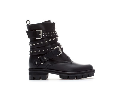 Flat Leather Biker Ankle Boot - predominant colour: black; occasions: casual, creative work; material: leather; heel height: flat; embellishment: studs; heel: standard; toe: round toe; boot length: ankle boot; style: biker boot; finish: plain; pattern: plain; trends: gorgeous grunge; season: a/w 2013