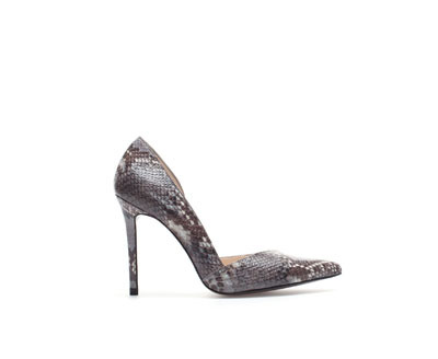 Python Pointed Court Shoes With High Heels - secondary colour: charcoal; predominant colour: mid grey; occasions: evening, work, occasion, creative work; material: leather; heel height: high; heel: stiletto; toe: pointed toe; style: courts; finish: plain; pattern: animal print; trends: broody brights; season: a/w 2013