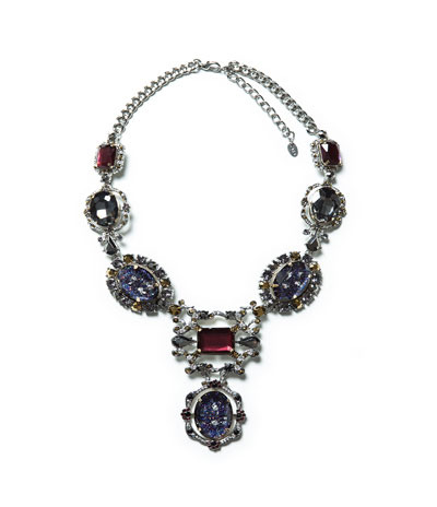 Rhinestone Necklace - secondary colour: royal blue; predominant colour: silver; occasions: evening, occasion; length: mid; size: large/oversized; material: chain/metal; finish: metallic; embellishment: jewels/stone; style: bib/statement; season: a/w 2013