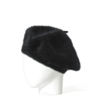 Angora Hat - predominant colour: black; occasions: casual; style: beret; size: standard; material: fabric; pattern: plain; season: a/w 2013
