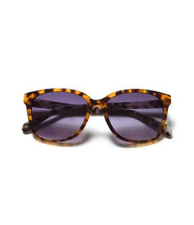 Two Tone Sunglasses - secondary colour: tan; predominant colour: black; occasions: casual, holiday; style: round; size: standard; material: plastic/rubber; pattern: tortoiseshell; finish: plain; season: a/w 2013
