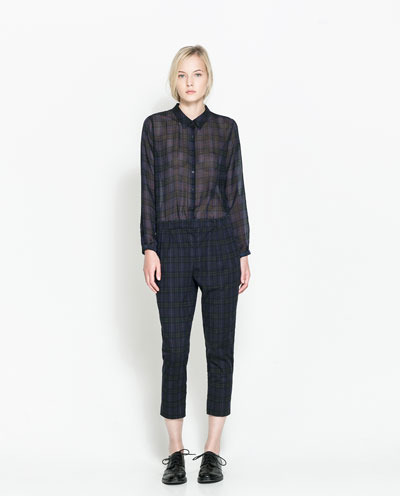 Checked Jumpsuit - neckline: shirt collar/peter pan/zip with opening; fit: tailored/fitted; pattern: checked/gingham; bust detail: buttons at bust (in middle at breastbone)/zip detail at bust; predominant colour: dark green; occasions: casual, evening, creative work; length: ankle length; fibres: polyester/polyamide - 100%; sleeve length: long sleeve; sleeve style: standard; texture group: sheer fabrics/chiffon/organza etc.; style: jumpsuit; pattern type: fabric; pattern size: standard; trends: gorgeous grunge; season: a/w 2013