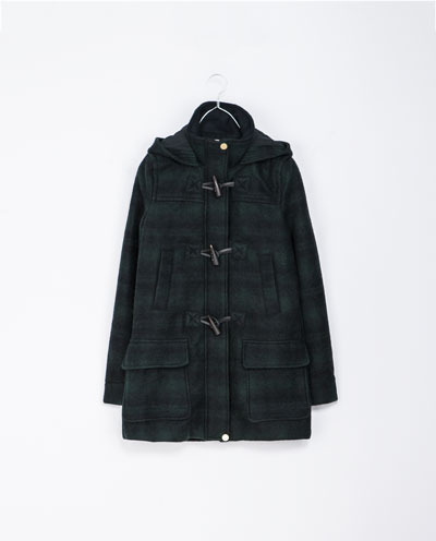 Duffle Coat With Toggle Fastenings - pattern: checked/gingham; length: below the bottom; fit: loose; collar: high neck; style: duffle coat; predominant colour: navy; occasions: casual, creative work; fibres: wool - mix; sleeve length: long sleeve; sleeve style: standard; collar break: high; pattern type: fabric; texture group: woven bulky/heavy; trends: gorgeous grunge; season: a/w 2013; hip detail: front pockets at hip