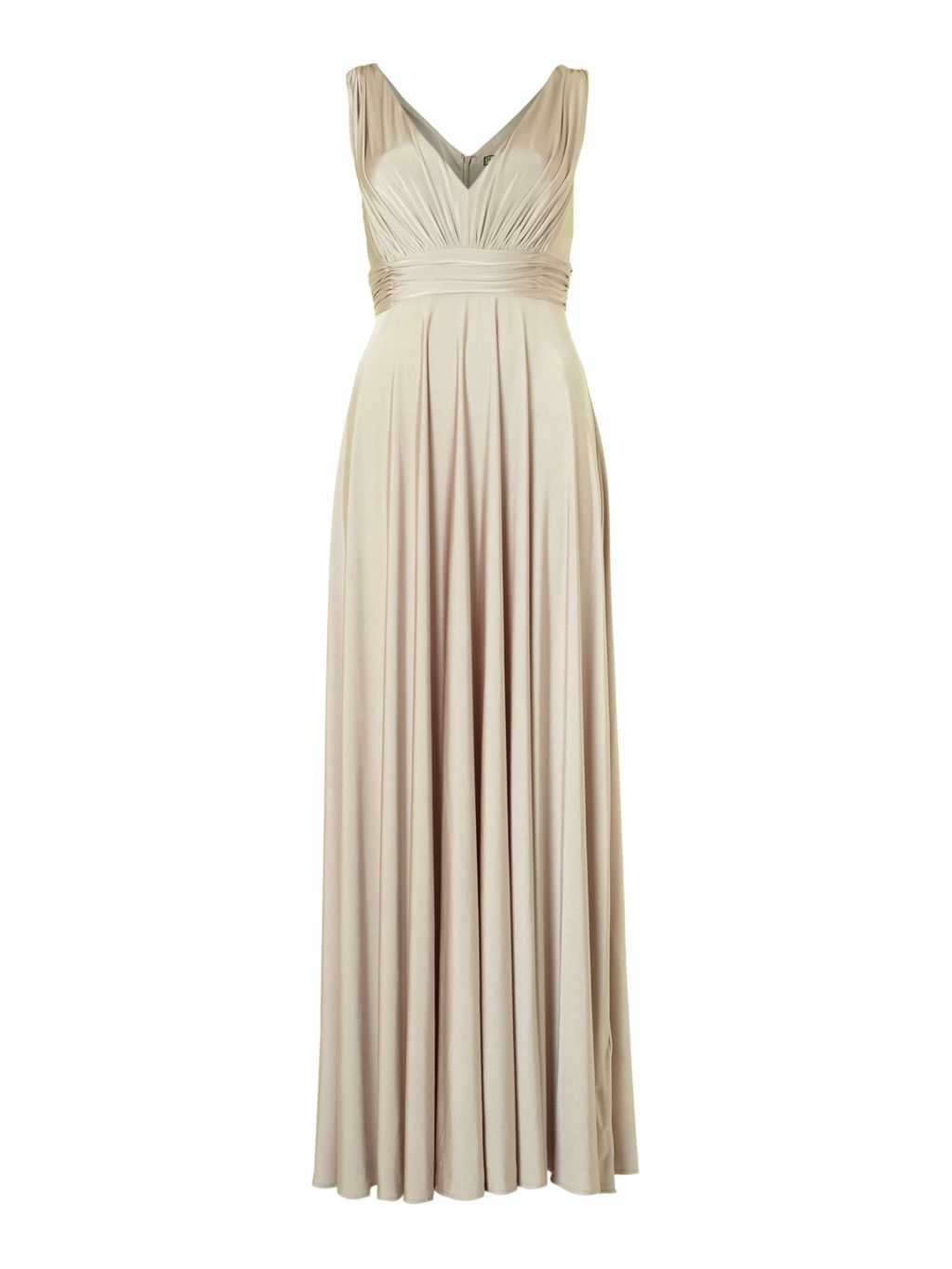 Deep V Full Skirted Maxi Dress, Champagne - neckline: low v-neck; pattern: plain; sleeve style: sleeveless; style: maxi dress; bust detail: ruching/gathering/draping/layers/pintuck pleats at bust; predominant colour: champagne; occasions: evening, occasion; length: floor length; fit: fitted at waist & bust; fibres: polyester/polyamide - stretch; hip detail: soft pleats at hip/draping at hip/flared at hip; sleeve length: sleeveless; pattern type: fabric; texture group: jersey - stretchy/drapey; season: a/w 2013