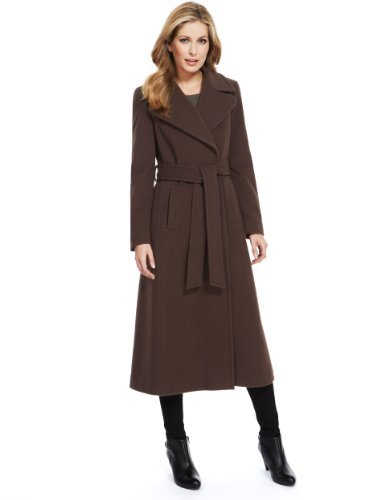 M&S Collection Wool Rich Long Belted Wrap Coat With Cashmere - pattern: plain; collar: wide lapels; style: wrap around; length: calf length; predominant colour: chocolate brown; occasions: casual, work; fit: tailored/fitted; fibres: wool - mix; waist detail: belted waist/tie at waist/drawstring; sleeve length: long sleeve; sleeve style: standard; collar break: medium; pattern type: fabric; texture group: woven bulky/heavy; trends: broody brights; season: a/w 2013