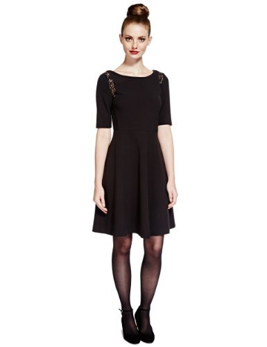Limited Edition Floral Lace Fit & Flare Skater Dress - neckline: slash/boat neckline; pattern: plain; waist detail: fitted waist; predominant colour: black; occasions: evening, occasion, creative work; length: just above the knee; fit: fitted at waist & bust; style: fit & flare; fibres: polyester/polyamide - stretch; hip detail: soft pleats at hip/draping at hip/flared at hip; sleeve length: half sleeve; sleeve style: standard; pattern type: fabric; texture group: other - light to midweight; trends: gothic romance; season: a/w 2013