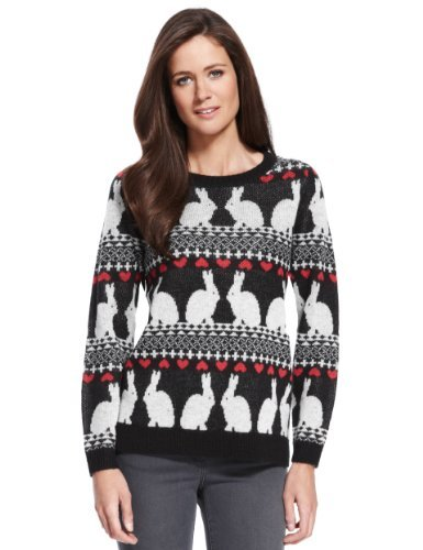 M&S Collection Rabbit Design Jumper - style: standard; secondary colour: true red; occasions: casual; length: standard; fibres: acrylic - 100%; fit: standard fit; neckline: crew; sleeve length: long sleeve; sleeve style: standard; texture group: knits/crochet; predominant colour: monochrome; pattern type: knitted - other; pattern size: standard; pattern: patterned/print; trends: playful prints; season: a/w 2013