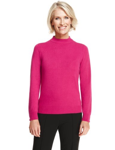 Classic Cashmilon™ Polo Neck Jumper - pattern: plain; neckline: high neck; style: standard; predominant colour: hot pink; occasions: casual, work; length: standard; fibres: acrylic - 100%; fit: slim fit; sleeve length: long sleeve; sleeve style: standard; texture group: knits/crochet; pattern type: knitted - fine stitch; season: a/w 2013