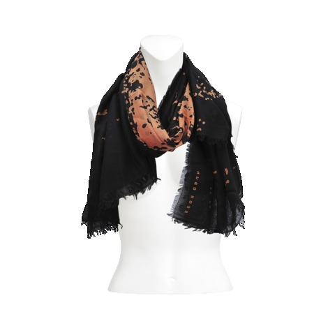 140x140 Scarf - secondary colour: coral; predominant colour: black; occasions: casual, evening, work, creative work; type of pattern: heavy; style: regular; size: standard; material: fabric; pattern: patterned/print; season: a/w 2013