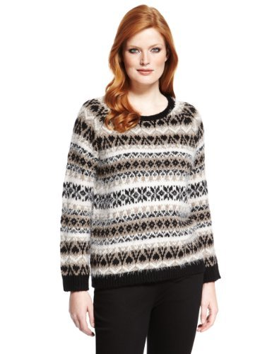 Plus Fair Isle Fluffy Jumper With Wool - neckline: round neck; sleeve style: raglan; style: standard; secondary colour: camel; predominant colour: black; occasions: casual; length: standard; fibres: acrylic - mix; fit: standard fit; pattern: fairisle; sleeve length: long sleeve; texture group: knits/crochet; pattern type: knitted - big stitch; pattern size: standard; season: a/w 2013