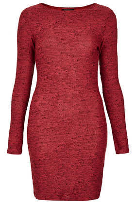 Bright Neppy Bodycon Dress - length: mid thigh; fit: tight; pattern: plain; style: bodycon; occasions: casual, evening, creative work; fibres: polyester/polyamide - mix; neckline: crew; sleeve length: long sleeve; sleeve style: standard; texture group: jersey - clingy; trends: broody brights; predominant colour: raspberry; season: a/w 2013