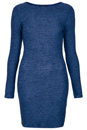 Bright Neppy Bodycon Dress - length: mid thigh; fit: tight; pattern: plain; style: bodycon; predominant colour: royal blue; occasions: casual, evening, creative work; fibres: polyester/polyamide - mix; neckline: crew; sleeve length: long sleeve; sleeve style: standard; texture group: jersey - stretchy/drapey; season: a/w 2013