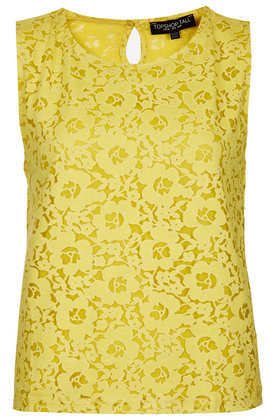 Tall Rose Burnout Shell Top - neckline: round neck; sleeve style: sleeveless; predominant colour: yellow; occasions: casual, evening, holiday, creative work; length: standard; style: top; fit: straight cut; sleeve length: sleeveless; pattern type: fabric; pattern: florals; texture group: jersey - stretchy/drapey; fibres: viscose/rayon - mix; embellishment: lace; season: a/w 2013