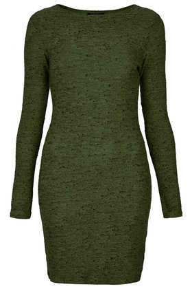 Bright Neppy Bodycon Dress - length: mid thigh; fit: tight; pattern: plain; style: bodycon; predominant colour: dark green; occasions: casual, evening, creative work; fibres: polyester/polyamide - stretch; neckline: crew; sleeve length: long sleeve; sleeve style: standard; texture group: jersey - clingy; season: a/w 2013