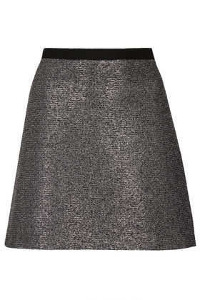 Silver Metallic A Line Skirt - length: mid thigh; pattern: plain; fit: loose/voluminous; waist: mid/regular rise; predominant colour: silver; occasions: casual, evening, creative work; style: a-line; fibres: cotton - mix; pattern type: fabric; texture group: other - light to midweight; season: a/w 2013