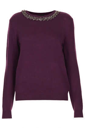 Knitted Crystal Stud Jumper - neckline: round neck; pattern: plain; style: standard; predominant colour: aubergine; occasions: casual, evening, work, creative work; length: standard; fibres: acrylic - mix; fit: standard fit; sleeve length: long sleeve; sleeve style: standard; texture group: knits/crochet; pattern type: knitted - fine stitch; embellishment: crystals/glass; season: a/w 2013; wardrobe: highlight; embellishment location: neck