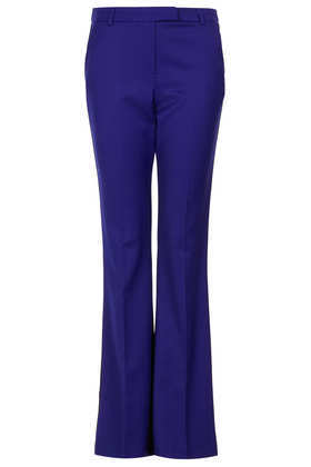 Side Pipe Kick Flare Trousers - length: standard; pattern: plain; waist: high rise; predominant colour: royal blue; occasions: casual, evening, work, creative work; fibres: polyester/polyamide - mix; fit: bootcut; pattern type: fabric; texture group: woven light midweight; style: standard; season: a/w 2013