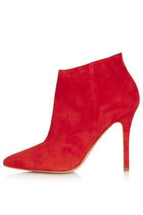 Aloof Shoe Boots - predominant colour: true red; material: suede; heel height: high; heel: stiletto; toe: pointed toe; boot length: ankle boot; style: standard; finish: plain; pattern: plain; occasions: creative work; season: a/w 2013