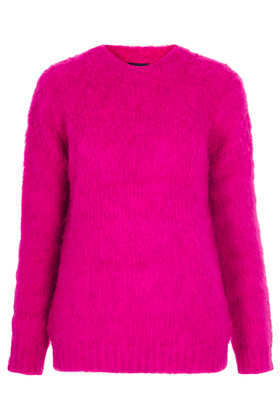 Knitted Brushed Funnel Jumper - pattern: plain; style: standard; predominant colour: hot pink; occasions: casual, creative work; length: standard; fibres: acrylic - mix; fit: standard fit; neckline: crew; sleeve length: long sleeve; sleeve style: standard; texture group: knits/crochet; trends: broody brights; season: a/w 2013