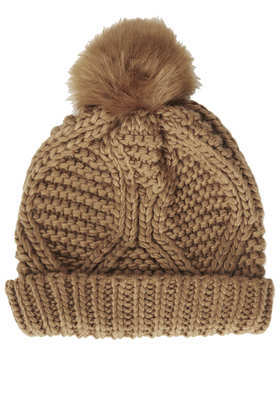 Fur Pom Cable Beanie - predominant colour: tan; occasions: casual; type of pattern: standard; style: bobble; size: standard; material: knits; pattern: knit; season: a/w 2013; embellishment: bobble