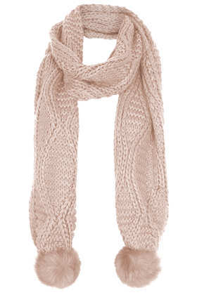 Fur Pom Cable Scarf - predominant colour: blush; occasions: casual, evening, creative work; style: regular; size: standard; material: knits; pattern: knit; embellishment: bobble; season: a/w 2013