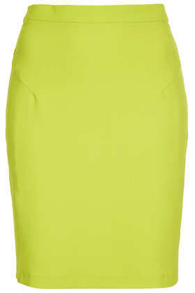 Chartreuse Crepe Pencil Skirt - pattern: plain; style: pencil; fit: tailored/fitted; waist: high rise; predominant colour: lime; occasions: casual, evening, work, creative work; length: just above the knee; fibres: polyester/polyamide - stretch; texture group: crepes; pattern type: fabric; season: a/w 2013