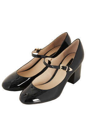 Janet Mary Janes - predominant colour: black; occasions: work, creative work; material: leather; heel height: mid; heel: block; toe: round toe; style: mary janes; finish: patent; pattern: plain; season: a/w 2013; wardrobe: investment