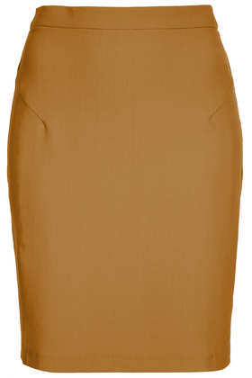 Tan Crepe Pencil Skirt - pattern: plain; style: pencil; fit: tailored/fitted; waist: high rise; predominant colour: tan; occasions: casual, evening, work, creative work; length: just above the knee; fibres: polyester/polyamide - stretch; texture group: crepes; pattern type: fabric; trends: 1940's hitchcock heroines; season: a/w 2013