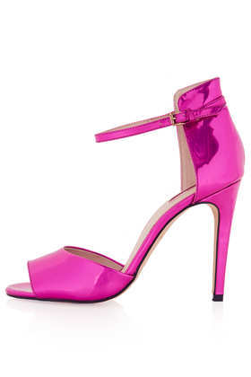 Rebel Pink Mirror Heels - predominant colour: hot pink; occasions: evening, occasion; material: faux leather; heel height: high; ankle detail: ankle strap; heel: stiletto; toe: open toe/peeptoe; style: courts; finish: patent; pattern: plain; season: a/w 2013