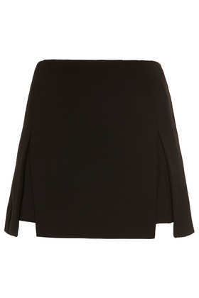 Heavy Crepe Origami Skirt - length: mini; pattern: plain; fit: tailored/fitted; waist: high rise; predominant colour: black; occasions: casual, evening, creative work; style: mini skirt; fibres: polyester/polyamide - 100%; hip detail: slits at hip; texture group: crepes; pattern type: fabric; season: a/w 2013