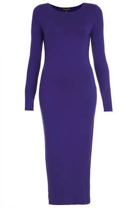 Tall Basic Midi Bodycon Dress - length: calf length; neckline: round neck; fit: tight; pattern: plain; style: bodycon; predominant colour: royal blue; occasions: casual, evening, occasion, creative work; fibres: viscose/rayon - stretch; sleeve length: long sleeve; sleeve style: standard; texture group: jersey - clingy; trends: broody brights; season: a/w 2013
