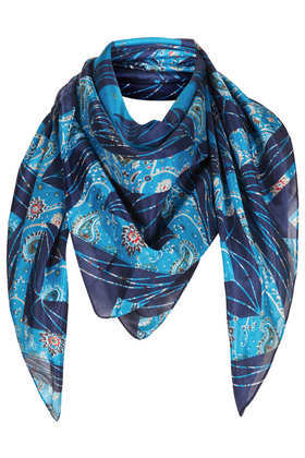 Paisley Geo Square Scarf - predominant colour: diva blue; secondary colour: navy; occasions: casual, evening, work, creative work; type of pattern: standard; style: square; size: standard; material: fabric; pattern: paisley; trends: playful prints; season: a/w 2013