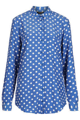 Spot Print Shirt - neckline: shirt collar/peter pan/zip with opening; length: below the bottom; style: shirt; pattern: polka dot; predominant colour: royal blue; occasions: casual, evening, creative work; fibres: viscose/rayon - 100%; fit: loose; sleeve length: long sleeve; sleeve style: standard; texture group: cotton feel fabrics; pattern type: fabric; season: a/w 2013