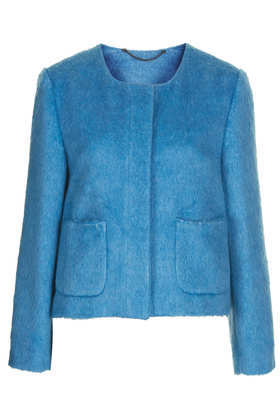Hairy Cropped Boxy Jacket - pattern: plain; collar: round collar/collarless; style: boxy; predominant colour: turquoise; occasions: casual, evening, work, occasion, creative work; length: standard; fit: straight cut (boxy); fibres: polyester/polyamide - mix; sleeve length: long sleeve; sleeve style: standard; collar break: high; pattern type: fabric; texture group: woven light midweight; season: a/w 2013; hip detail: front pockets at hip