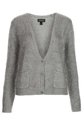 Knitted Fluffy V Neck Cardi - neckline: low v-neck; pattern: plain; hip detail: front pockets at hip; predominant colour: mid grey; occasions: casual, work, creative work; length: standard; style: standard; fibres: acrylic - mix; fit: standard fit; sleeve length: long sleeve; sleeve style: standard; texture group: knits/crochet; season: a/w 2013