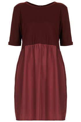 Woven/Jersey Smock Dress - style: smock; neckline: round neck; fit: loose; predominant colour: burgundy; occasions: evening, creative work; length: just above the knee; fibres: cotton - mix; sleeve length: short sleeve; sleeve style: standard; pattern type: fabric; pattern: colourblock; texture group: jersey - stretchy/drapey; season: a/w 2013