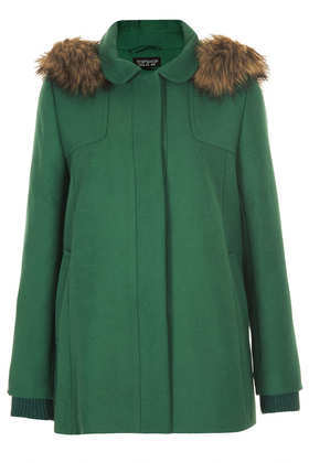 Fur Hooded Swing Coat - pattern: plain; length: below the bottom; fit: loose; style: single breasted; back detail: hood; predominant colour: dark green; occasions: casual, work, creative work; fibres: polyester/polyamide - stretch; collar: shirt collar/peter pan/zip with opening; sleeve length: long sleeve; sleeve style: standard; collar break: high; pattern type: fabric; texture group: woven bulky/heavy; embellishment: fur; season: a/w 2013; wardrobe: highlight; embellishment location: all over