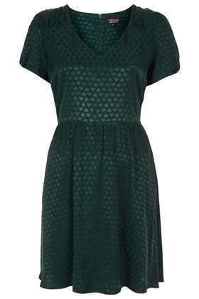 Heart Jacquard Tea Dress - style: tea dress; length: mini; neckline: low v-neck; waist detail: fitted waist; predominant colour: dark green; occasions: casual, evening, creative work; fit: fitted at waist & bust; fibres: viscose/rayon - 100%; hip detail: soft pleats at hip/draping at hip/flared at hip; sleeve length: short sleeve; sleeve style: standard; pattern type: fabric; pattern size: light/subtle; pattern: patterned/print; texture group: brocade/jacquard; season: a/w 2013