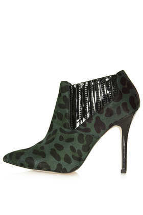 Gripped Pointed Shoe Boots - predominant colour: dark green; secondary colour: black; occasions: casual, creative work; material: leather; heel height: high; heel: stiletto; toe: pointed toe; boot length: ankle boot; style: standard; finish: plain; pattern: animal print; season: a/w 2013