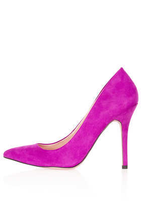Simple Court Shoes - predominant colour: magenta; occasions: evening, occasion, creative work; material: suede; heel height: high; heel: stiletto; toe: pointed toe; style: courts; finish: plain; pattern: plain; trends: broody brights; season: a/w 2013