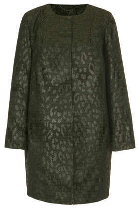 Textured Jacquard Coat - collar: round collar/collarless; length: mid thigh; predominant colour: dark green; occasions: casual, evening, work, occasion, creative work; fit: straight cut (boxy); style: cocoon; fibres: polyester/polyamide - 100%; sleeve length: long sleeve; sleeve style: standard; collar break: high; pattern type: fabric; pattern size: light/subtle; pattern: animal print; texture group: brocade/jacquard; trends: broody brights; season: a/w 2013