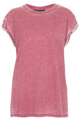 Tall Burnout Tee - sleeve style: capped; pattern: plain; length: below the bottom; style: t-shirt; occasions: casual; fibres: polyester/polyamide - mix; fit: loose; neckline: crew; sleeve length: short sleeve; texture group: jersey - stretchy/drapey; predominant colour: dusky pink; season: a/w 2013