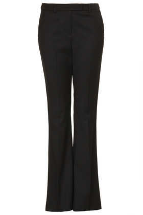 Side Pipe Kick Flare Trousers - length: standard; pattern: plain; pocket detail: small back pockets, pockets at the sides; waist: mid/regular rise; predominant colour: black; occasions: evening, work; fibres: polyester/polyamide - mix; fit: bootcut; pattern type: fabric; texture group: woven light midweight; style: standard; season: a/w 2013